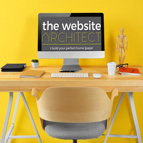 Working place on yellow wall about us page